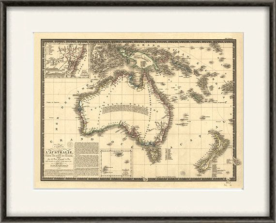 Australia map vintage Map print old map by VictorianWallDecor, $20.00