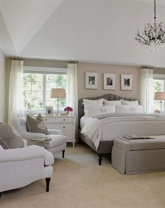 White Gray And Beige Master Bedroom Neutral Bedroom Interior