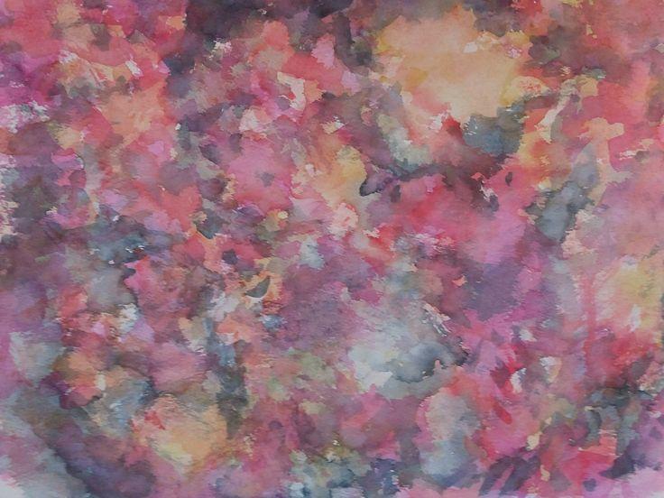Abstract painting in watercolors/Abstrakt målning i akvarell av Ingela Lindgren