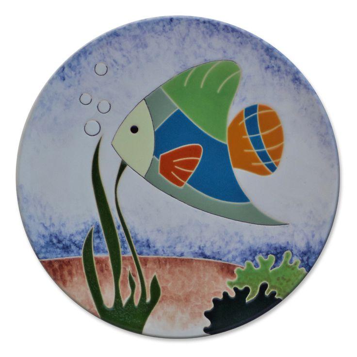 Prato decorativo com imagem de peixes ateli lukabrasil Stickers decorativos para ceramica