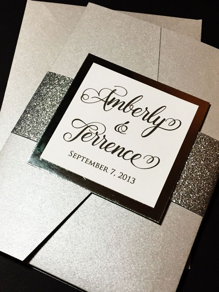 This listing is for a sample of a layered pocketfold wedding invitation with a glitter cardstock backing enclosed in a pocketfold with a foil tag embellishment. Please note the sample can not be custo