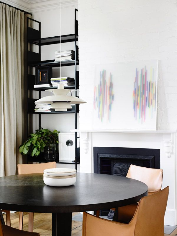 Formal dining room. Artwork on mantle – 'Two Ships' by John Nicholson, 2010. Image courtesy the artist and Sophie Gannon Gallery. Photos - Derek Swalwell, production – Lucy Feagins / The Design Files.
