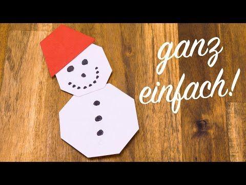 Schneemann Falten Kinderleicht, Basteln Mit Papier Für Weihnachten   YouTube