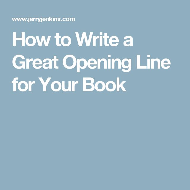 How to Write a Great Opening Line for Your Book