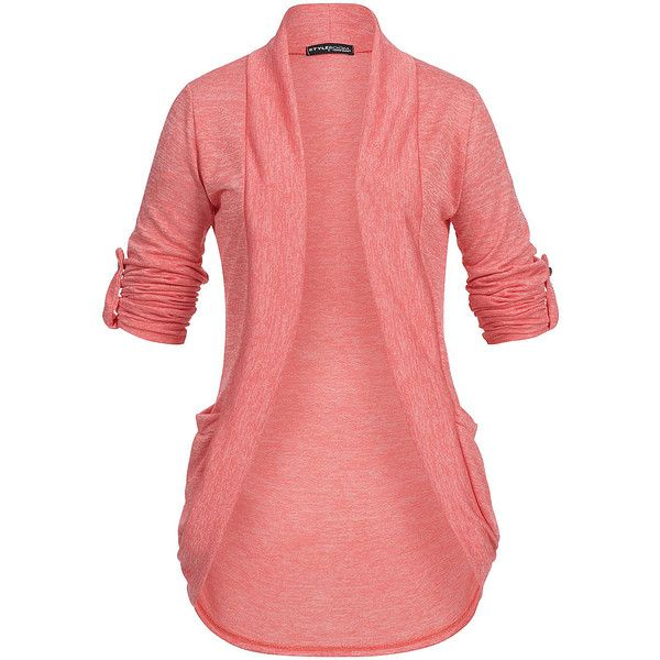 Styleboom Fashion Damen Turn-Up Cardigan 2 Taschen coral pink ($22) ❤ liked on Polyvore featuring tops, cardigans, red cardigan, cardigan top, coral cardigan, pink cardigan and pink top
