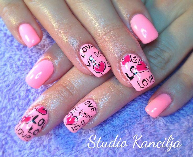 Pink love nails