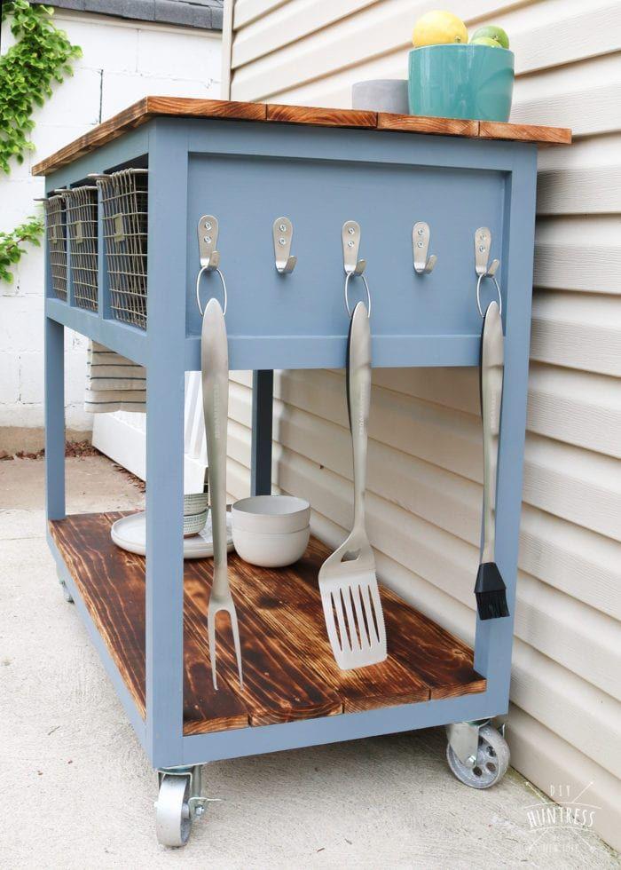 Diy Mobile Island Grill Cart Diy Huntress Mobile Kitchen Island Grill Cart Diy Outdoor Kitchen