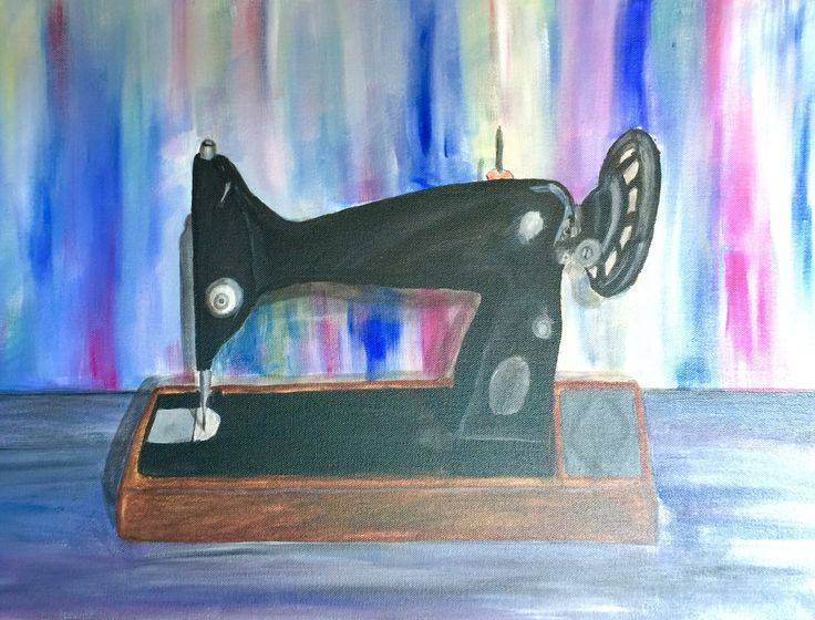 Singer sewing machine I painted with acrylics for my mum for her sewing room. Not too bad for a first attempt at a sort of realistic?