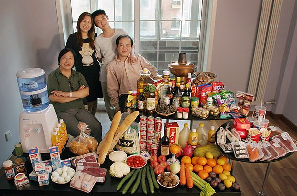 What the World Eats - A photo essay showing what different families around the world would eat in a typical week.  This is the Dong family of Beijing, China.  Food expenses for one week:  $155.  Favorite foods:  fried shredded port with sweet and sour sauce.