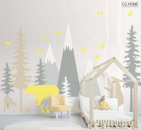 Berge Wald Wand Aufkleber Baby Zimmer Aufkleber Kiefer Baum Birke Baum Bär Kinderzimmer Baby junge Kinder Wand Kunst selbst Aufklebers #woodland002
