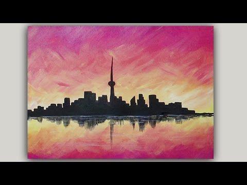 Acrylic Painting City Skyline Sunset Silhouette Painting