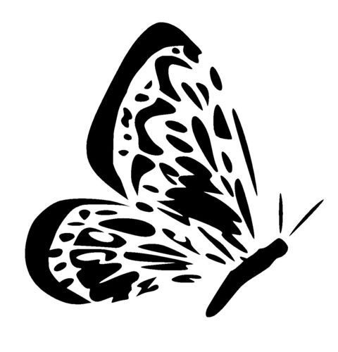 butterfly side view stencil 3
