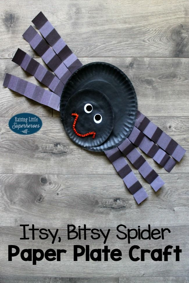 Use homemade puffy paint to create this adorable Itsy, Bitsy Spider Paper Plate Craft.  Hang it in your house or classroom for the perfect Halloween decoration.