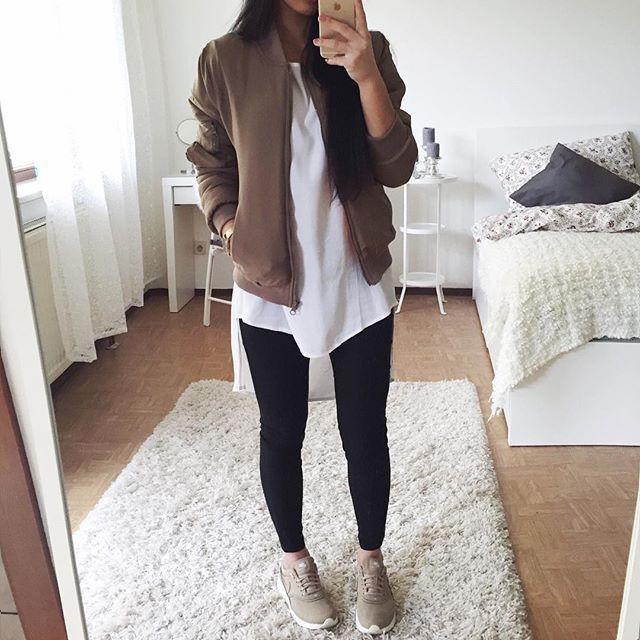 Thanya W. @thanyaw Love my new bombe...Instagram photo - bomber, sporty, sneakers, simple, fall, spring, khaki