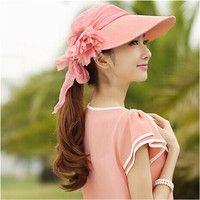 Wish | Women Cool Summer Sun Wide  Brim Folding Visor Hat with Cotton Veil
