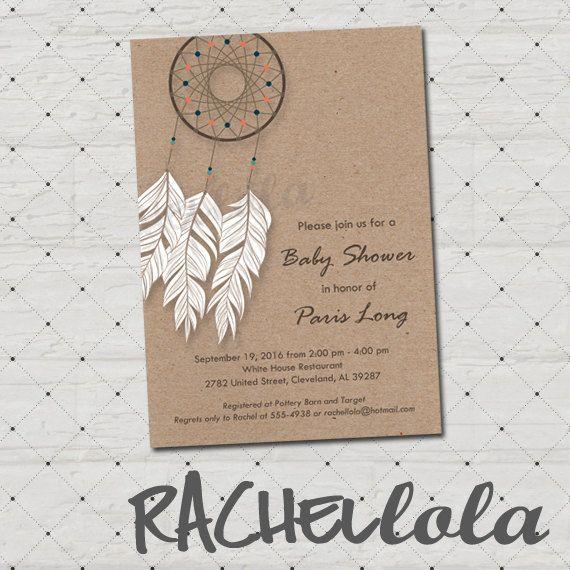 Dreamcatcher kraft invitation, printable, digital print, Native American, birthday, baby shower