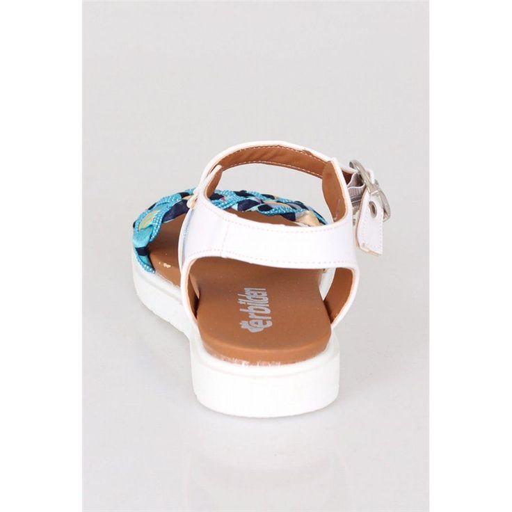 Erbilden Beyaz Mavi Sandalet