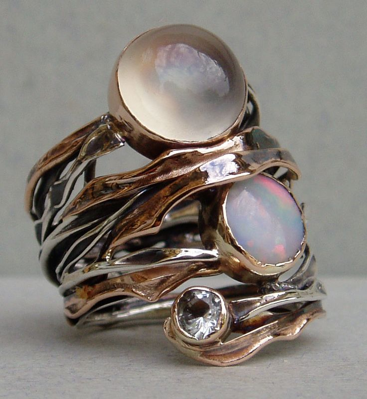 #rose gold, #silver, #moonstone, #opal, #aquamarine, #ring