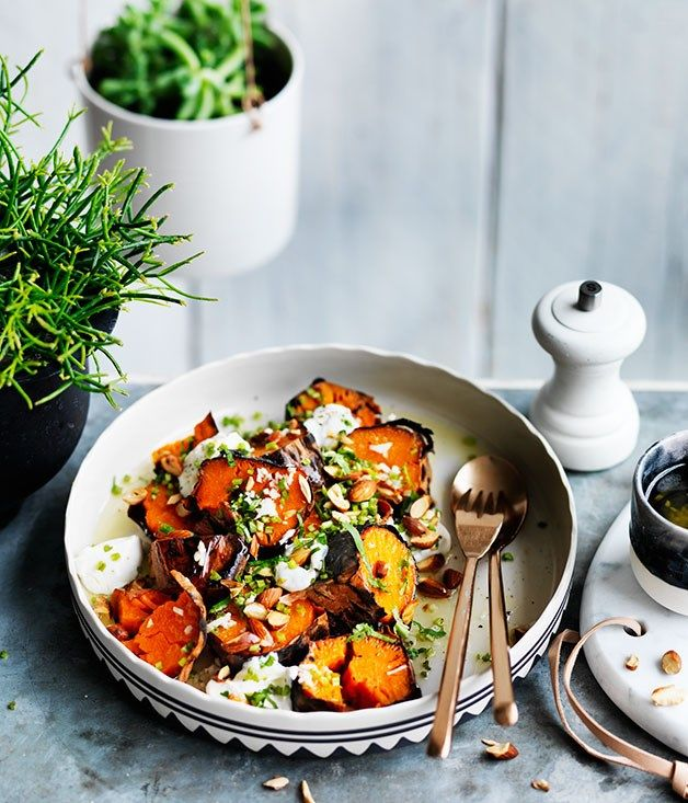 Charred sweet potato, goat's curd and almonds recipe, Frank, Hobart :: Gourmet Traveller