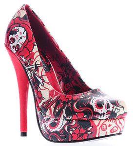 Red sugar skull heels