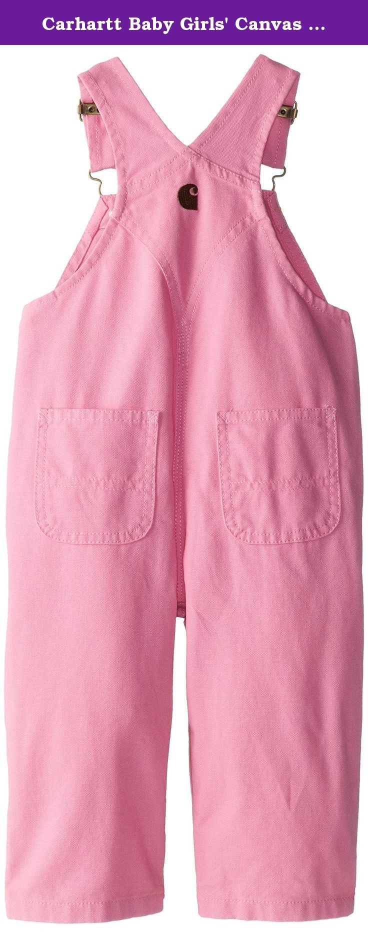 Carhartt Baby Girls' Canvas Bib Overall Inf Tod, Pink, 18 Months. Triple-stitched main seams for added durability. Diagonal full zip and quilted taffeta lining permit easy entry/exit. Gusseted crotch diminishes ride-up, and provides extra room and mobility. Split-leg construction works well with backpack, car or bike seat. Back dungaree pockets and side utility pocket for an authentic Carhartt look. Hidden rib cuffs at sleeves and legs for extra warmth. Carhartt woven brand mark label on...