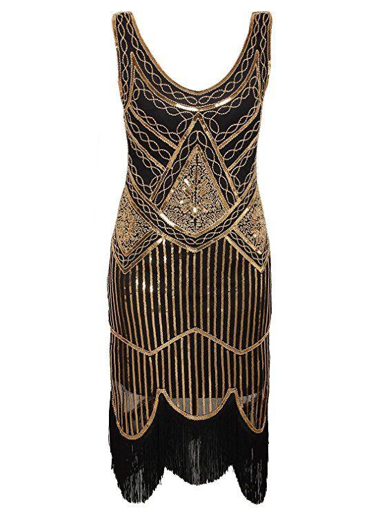 0193ae13dc1b Vijiv Women's 1920s Gastby Inspired Sequined Embellished Fringed Flapper  Dress, Black and Gold, Medium