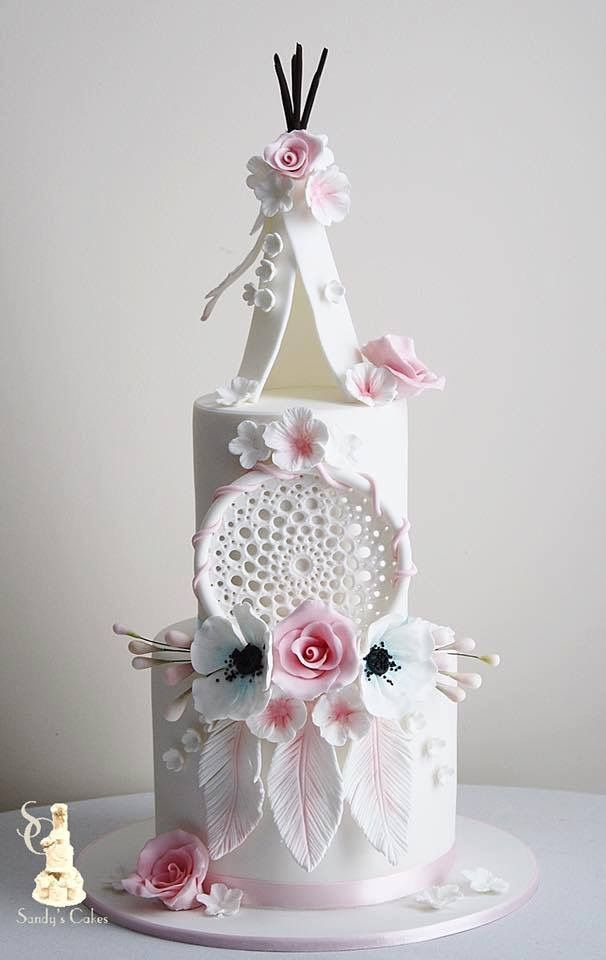 Boho chic, dream catcher and tent wedding or birthday white and pink cake
