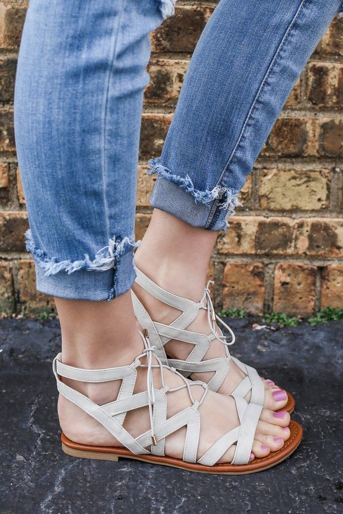 Cream Faux Leather Lace Up Gladiator Style Sandals Convoy-S – UOIOnline.com: Women's Clothing Boutique