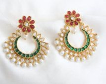 Emerald green and red chandbali earring with pearls, POlki Jewelry, Faux Kundan Earrings, Chandelier Earrings,  Enamel earrings