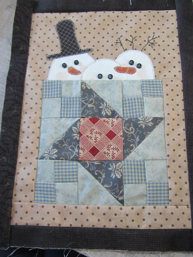 mug rug idea - could make it look like a coffee mug, and the snowmen would look like they were warming up (or could resemble marshmallows bobbing in hot cocoa)