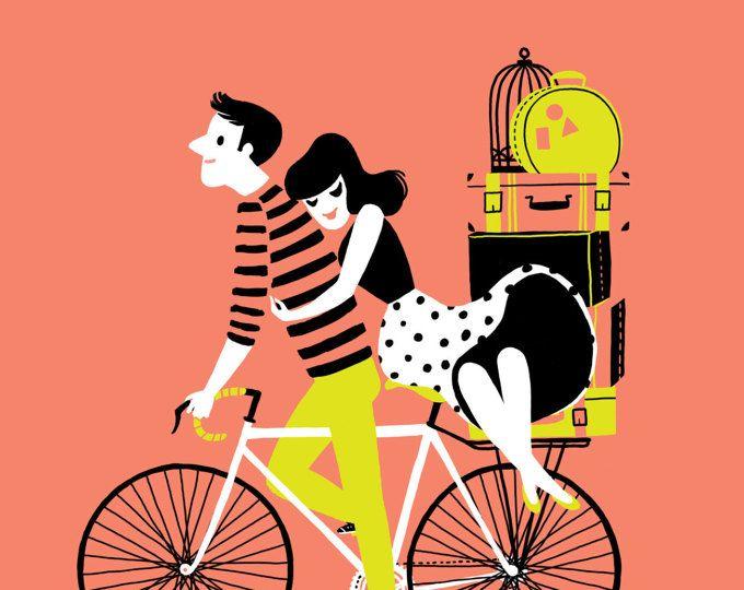 Druck paar auf dem Fahrrad mit Koffer, Reisen - süßen Valentinstag gerade geheiratet Giclée-Abbildung in schwarz, Pfirsich, limettengelb und weiß