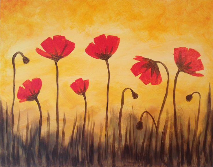 Poppies Painting | Creatively Uncorked | http://creativelyuncorked