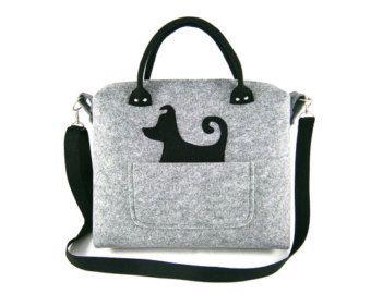 Borsa a tracolla cane borsa feltro borsa borsa per donne grigio grande borsa feltro borsetta Designer borsa feltro borsa a tracolla moderna