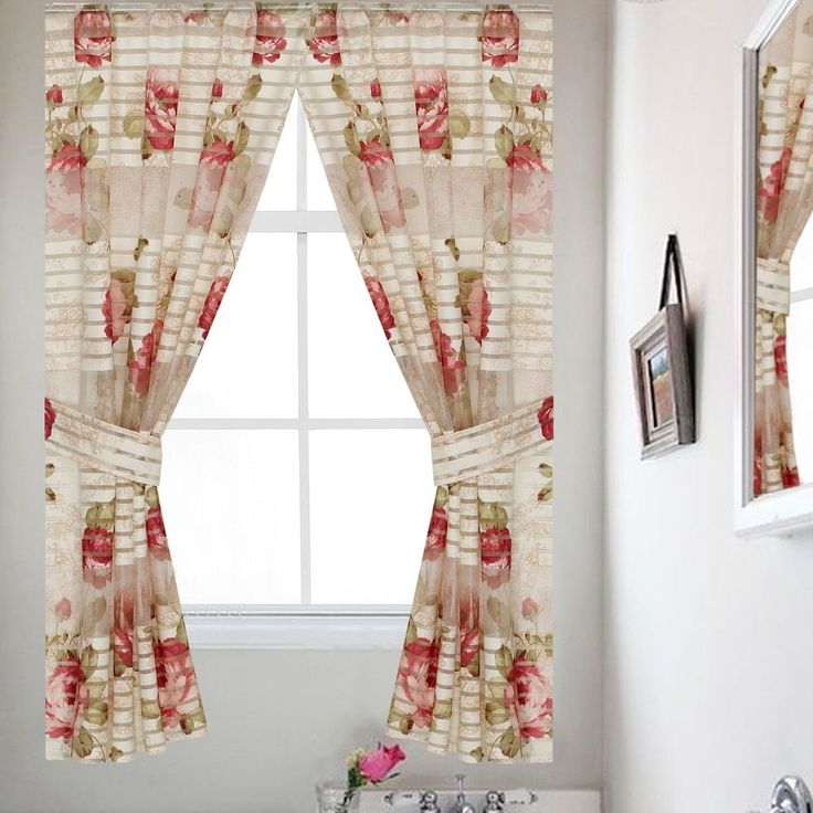Bathroom Window Curtain Set with Tiebacks (54, Beige) (Polyester, Floral)