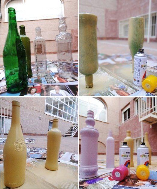 Cómo pintar botellas de cristal o plástico