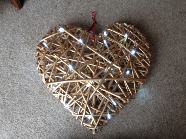 Gold painted wicker heart with led lights added