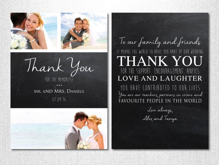 Chalkboard Thank You ~ Wedding Thank you Cards Photo ~ Wedding Thank you Cards ~ Printed Invitations ~ Personalised Thank You Wedding Cards