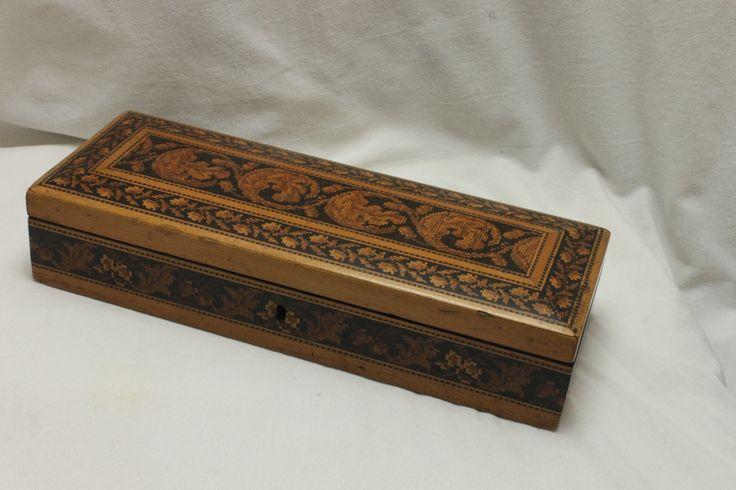 A very attractive Tunbridge ware pencil box from around 1850. www.chinaroseantiques.com.au