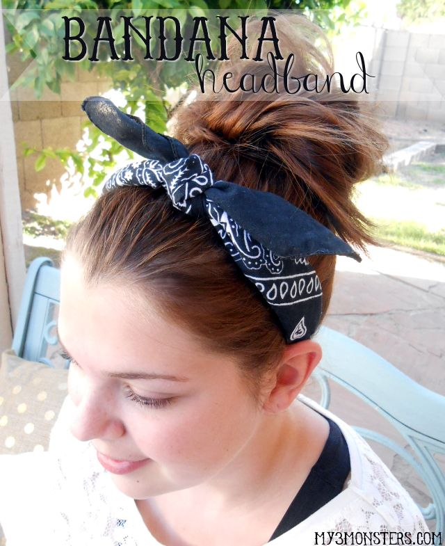 Easy Bandana Headband at my3monsters.com -- looks like a bandana tied around your head, but slips on and off in seconds!