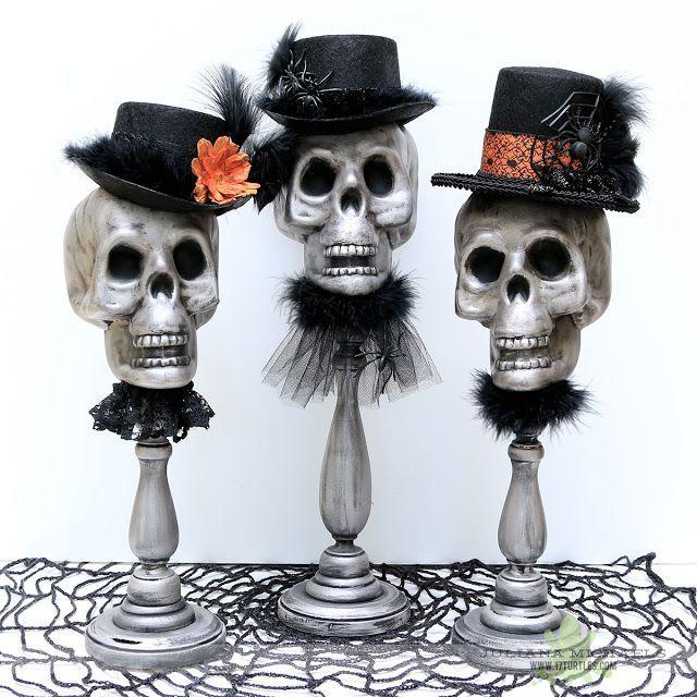 Dollar Tree Halloween Decor using Plastic Skulls by Juliana Michaels