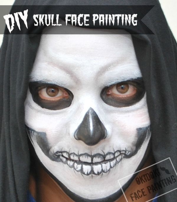 diy halloween skull face painting by okidoki face painting wwwokidokifacepaintingcom - Halloween Skull Face Paint Ideas
