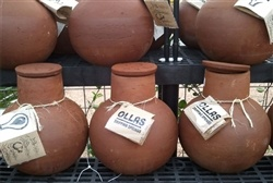Clay pot irrigation with Dripping Springs OLLAS.  Water your garden by filling the OLLA 2-3 times per week.  Use up to 75% less water!