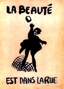 """Street poster supporting the May 1968 uprisings, depicting a woman revolutionary throwing a paving stone. The text, """"beauty is in the street"""", is a situationist slogan"""