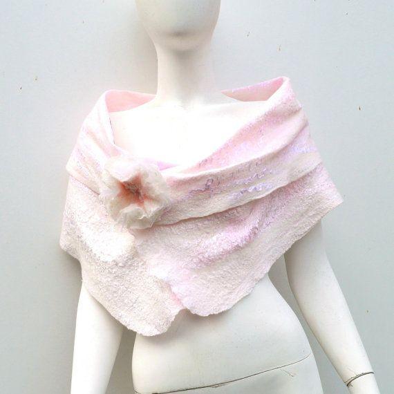 Gossamer Felted Blush White Wedding Wrap Flower by juliaheartfelt