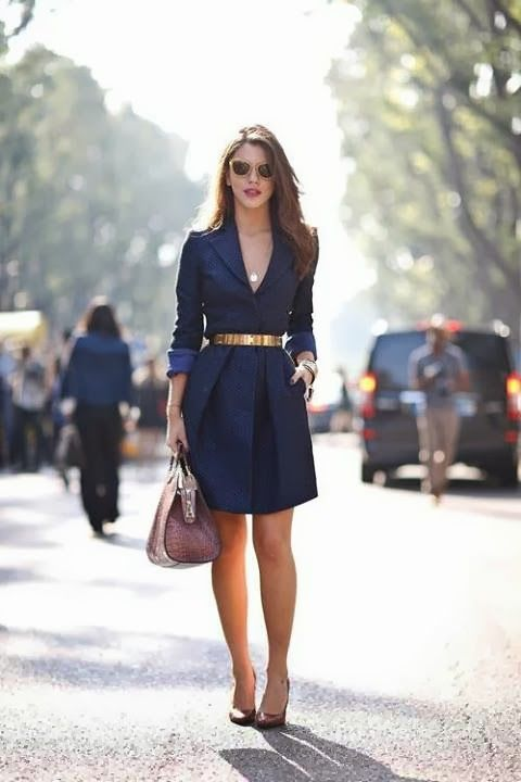 navy blue dress with golden accessories, looking fabulous