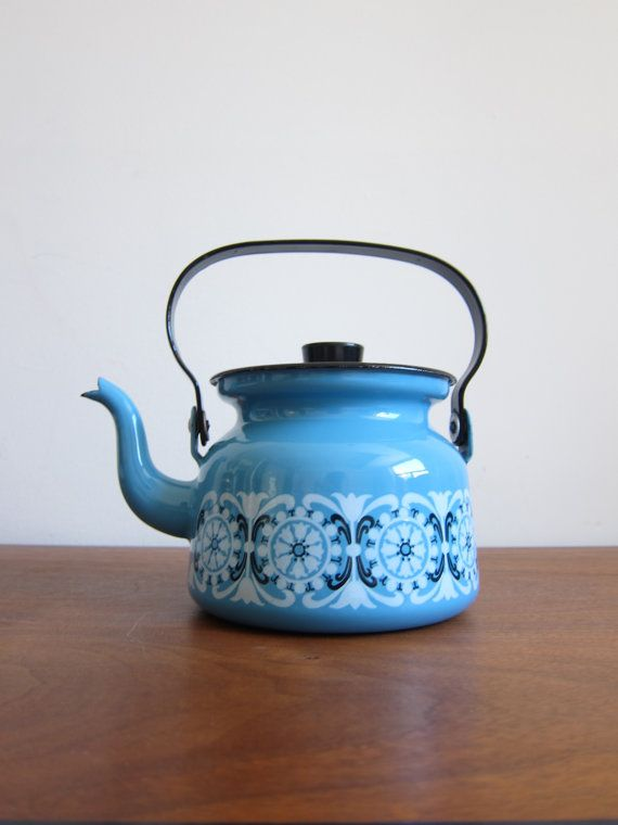 Finel of Finland Enamel Kettle with Blue Flowers by ModernSquirrel