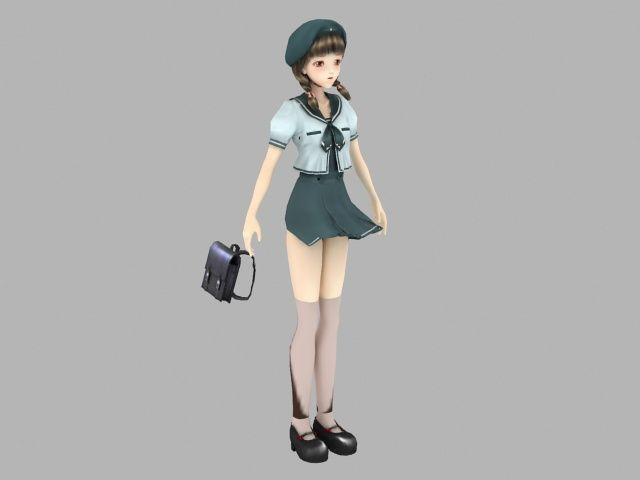 Anime school girl with handbag 3d model 3ds max files free