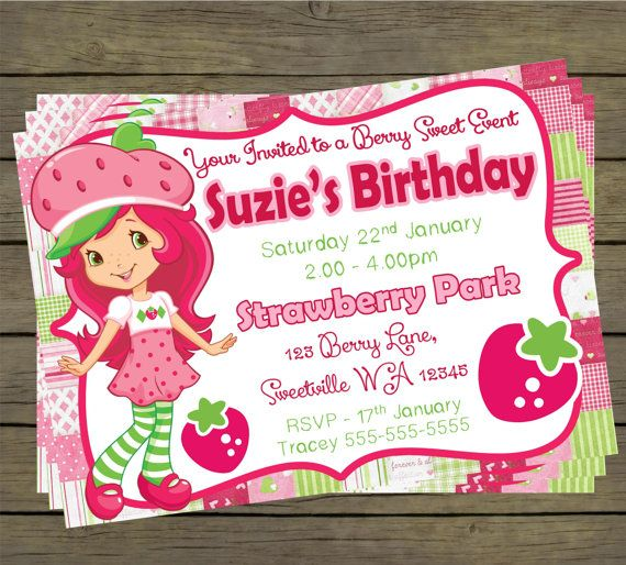 Strawberry Shortcake Birthday Party Invitation by PYOpartyinvites