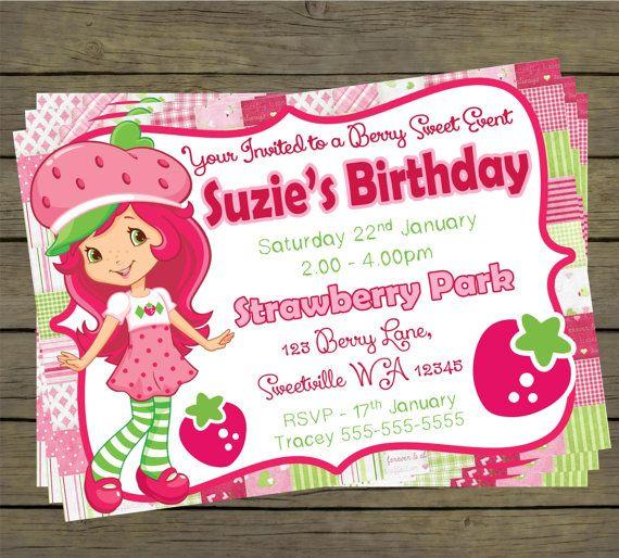 Strawberry Shortcake Birthday Party Invitation by PYOpartyinvites