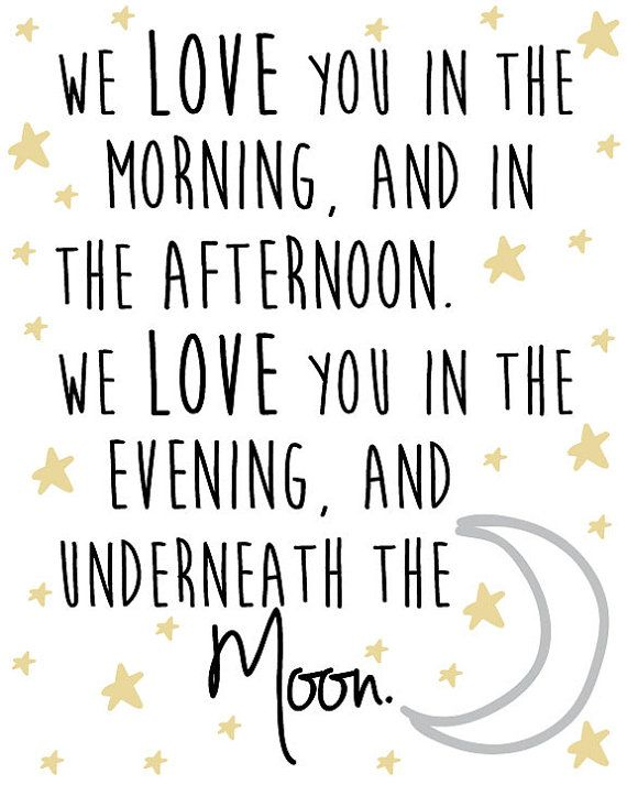 Nursery Star and Moon Digital Print We love you in by TagsforTots